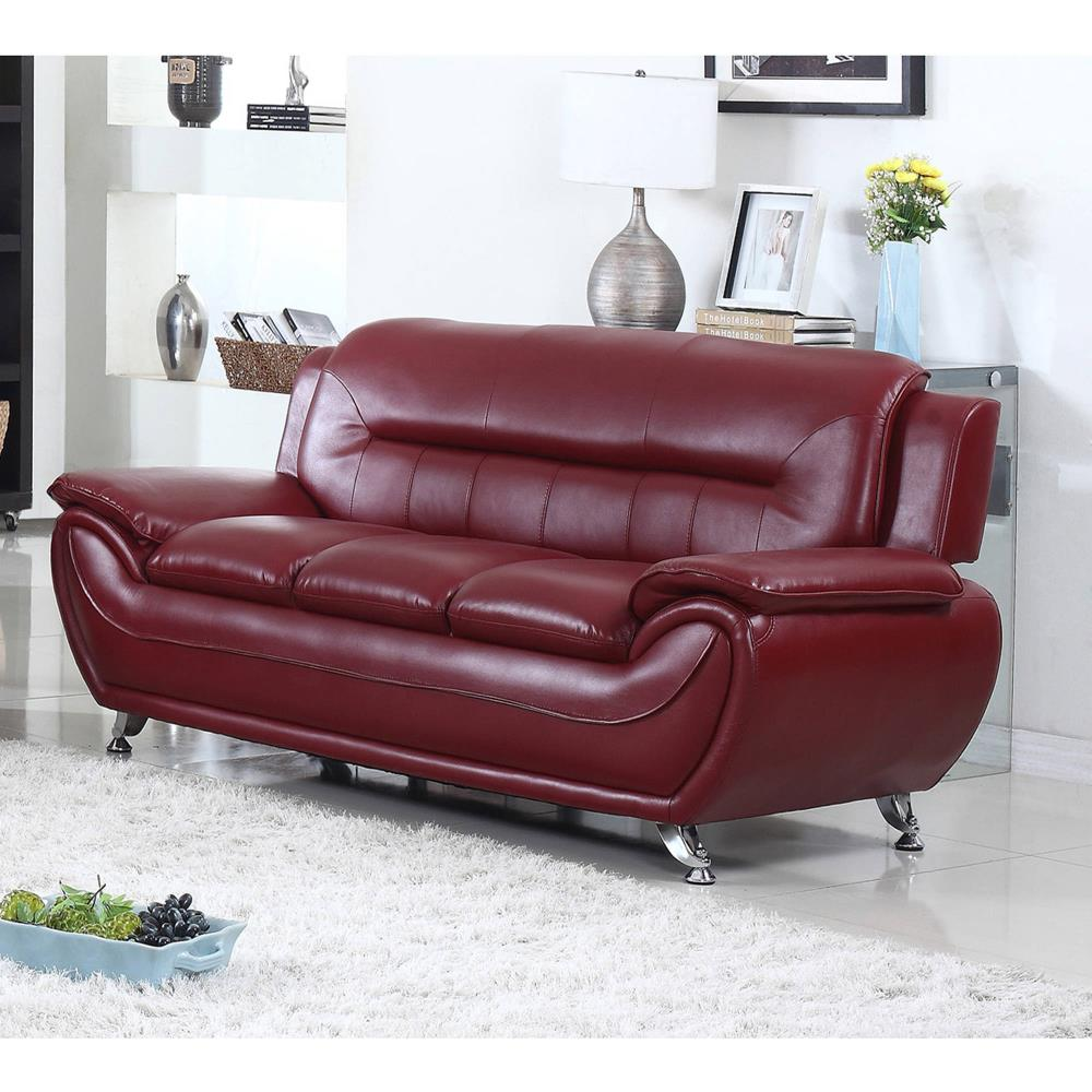Red Leather Curved Sofa